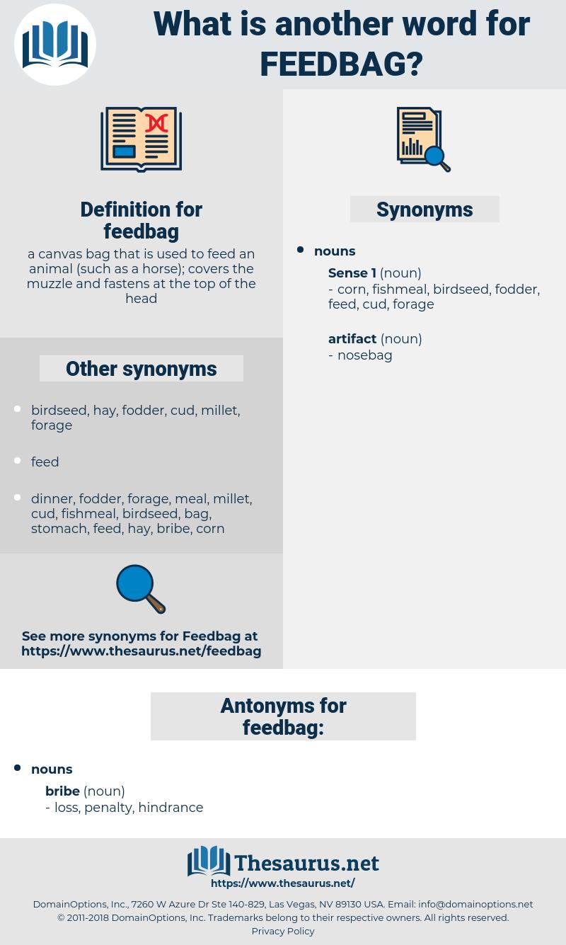 feedbag, synonym feedbag, another word for feedbag, words like feedbag, thesaurus feedbag