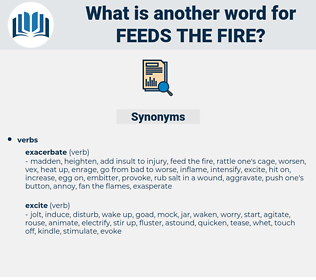 feeds the fire, synonym feeds the fire, another word for feeds the fire, words like feeds the fire, thesaurus feeds the fire