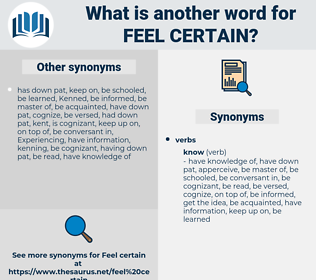 feel certain, synonym feel certain, another word for feel certain, words like feel certain, thesaurus feel certain