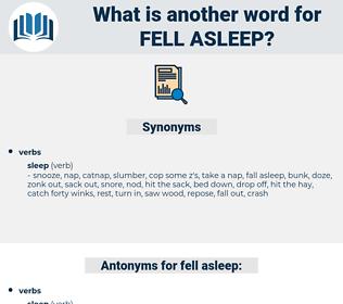 fell asleep, synonym fell asleep, another word for fell asleep, words like fell asleep, thesaurus fell asleep