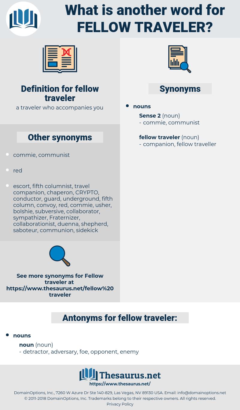 fellow traveler, synonym fellow traveler, another word for fellow traveler, words like fellow traveler, thesaurus fellow traveler