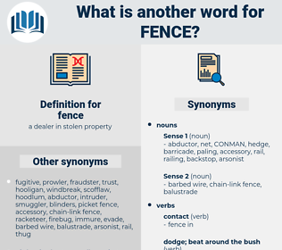 fence, synonym fence, another word for fence, words like fence, thesaurus fence
