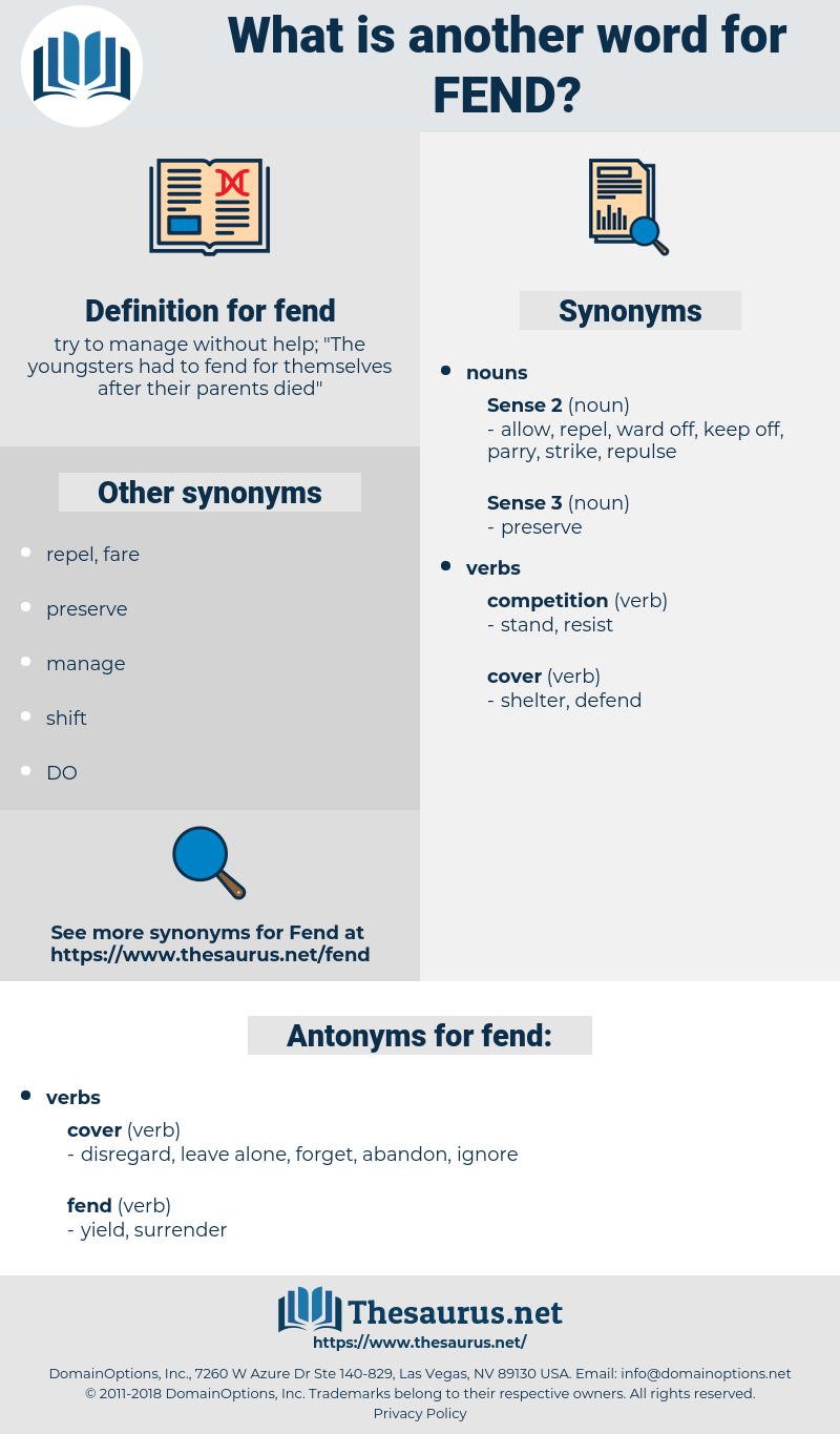 fend, synonym fend, another word for fend, words like fend, thesaurus fend