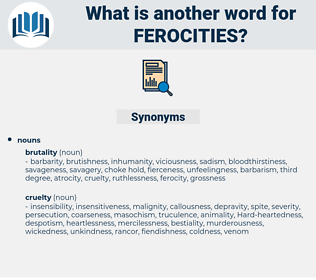 ferocities, synonym ferocities, another word for ferocities, words like ferocities, thesaurus ferocities