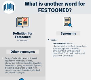 Festooned, synonym Festooned, another word for Festooned, words like Festooned, thesaurus Festooned