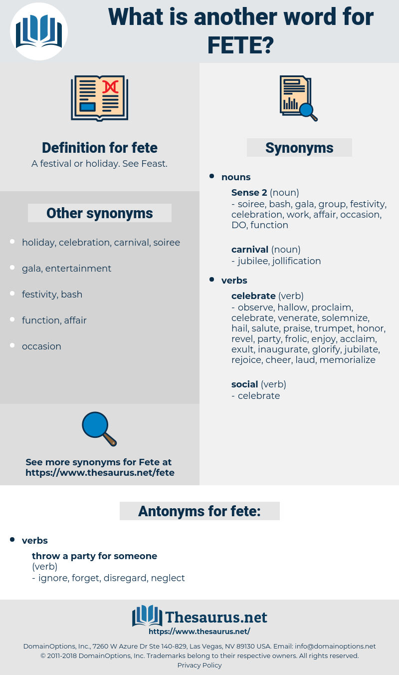 fete, synonym fete, another word for fete, words like fete, thesaurus fete
