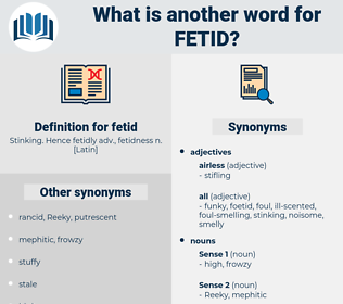 fetid, synonym fetid, another word for fetid, words like fetid, thesaurus fetid