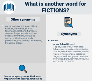 fictions, synonym fictions, another word for fictions, words like fictions, thesaurus fictions