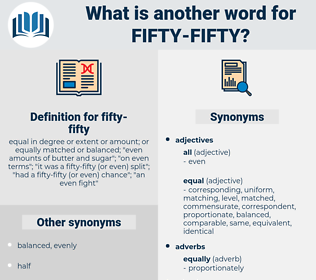 fifty-fifty, synonym fifty-fifty, another word for fifty-fifty, words like fifty-fifty, thesaurus fifty-fifty