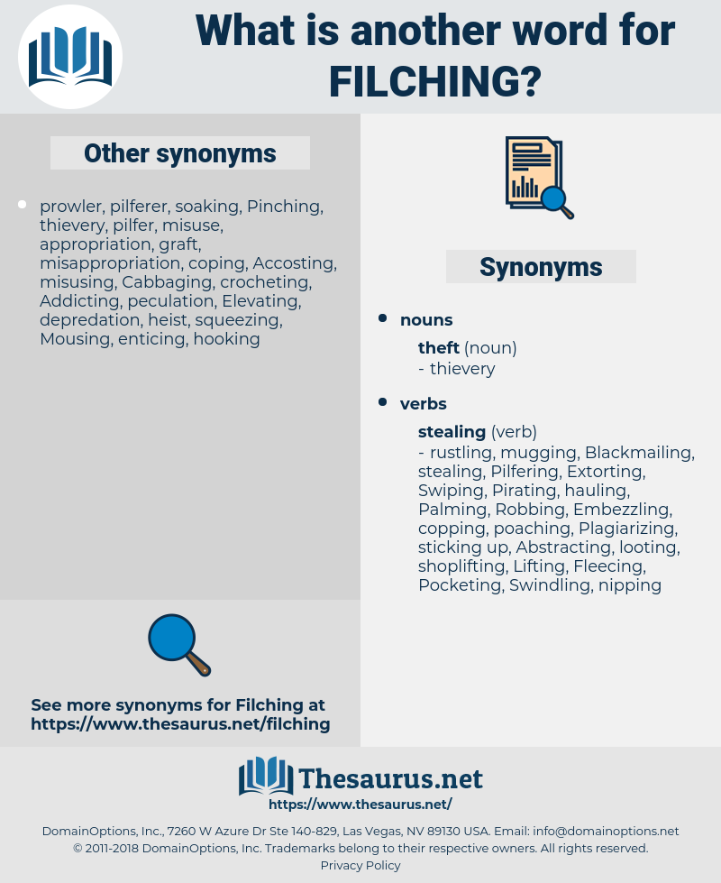 Filching, synonym Filching, another word for Filching, words like Filching, thesaurus Filching