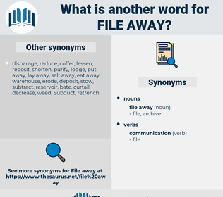 file away, synonym file away, another word for file away, words like file away, thesaurus file away