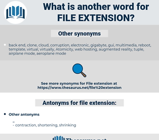 file extension, synonym file extension, another word for file extension, words like file extension, thesaurus file extension