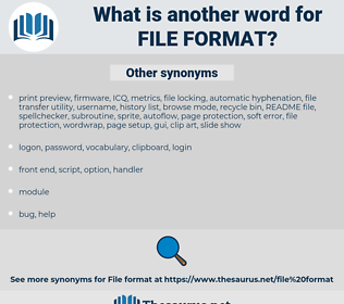 file format, synonym file format, another word for file format, words like file format, thesaurus file format