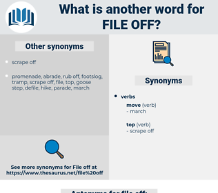 file off, synonym file off, another word for file off, words like file off, thesaurus file off