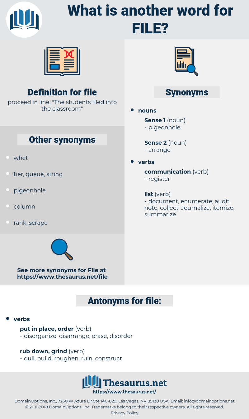 file, synonym file, another word for file, words like file, thesaurus file