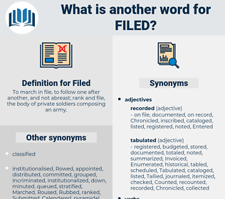 Filed, synonym Filed, another word for Filed, words like Filed, thesaurus Filed