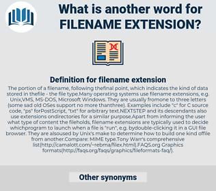 filename extension, synonym filename extension, another word for filename extension, words like filename extension, thesaurus filename extension
