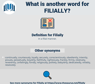 Filially, synonym Filially, another word for Filially, words like Filially, thesaurus Filially
