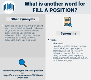fill a position, synonym fill a position, another word for fill a position, words like fill a position, thesaurus fill a position