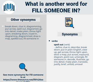 fill someone in, synonym fill someone in, another word for fill someone in, words like fill someone in, thesaurus fill someone in