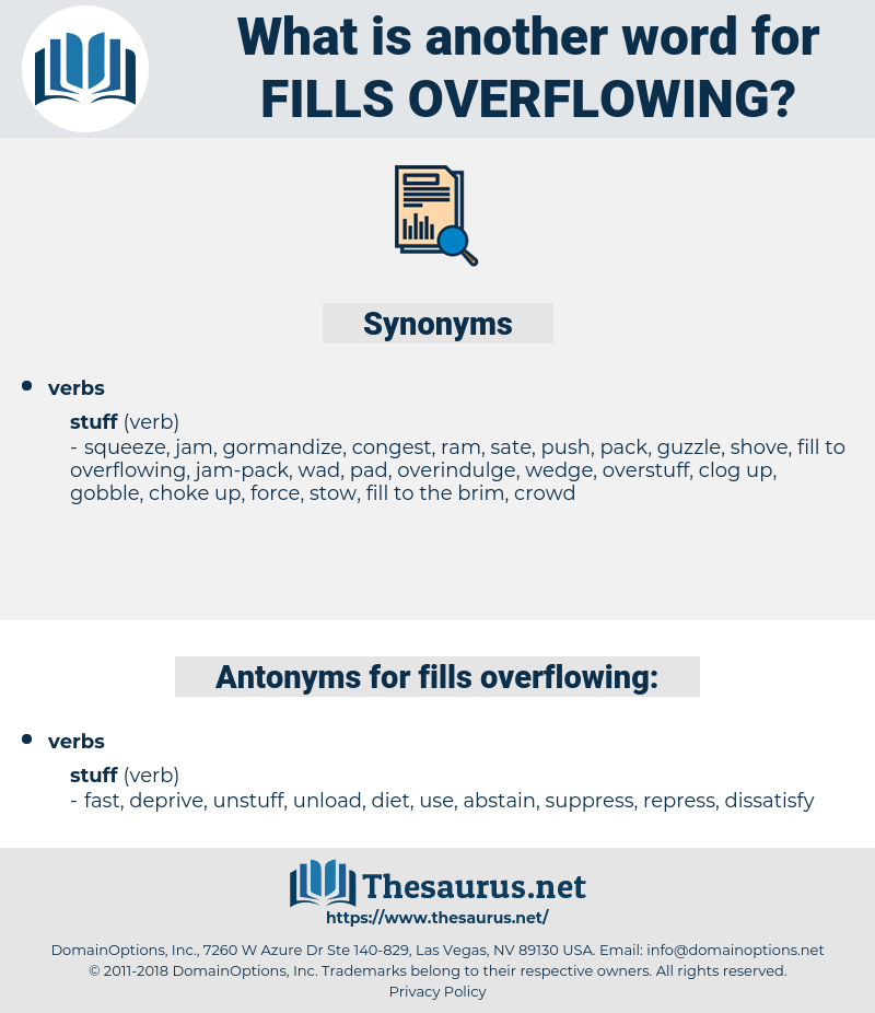 fills overflowing, synonym fills overflowing, another word for fills overflowing, words like fills overflowing, thesaurus fills overflowing