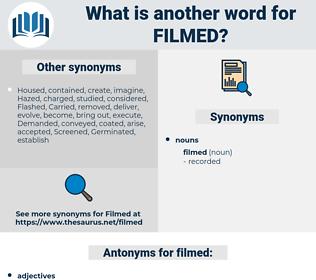 filmed, synonym filmed, another word for filmed, words like filmed, thesaurus filmed