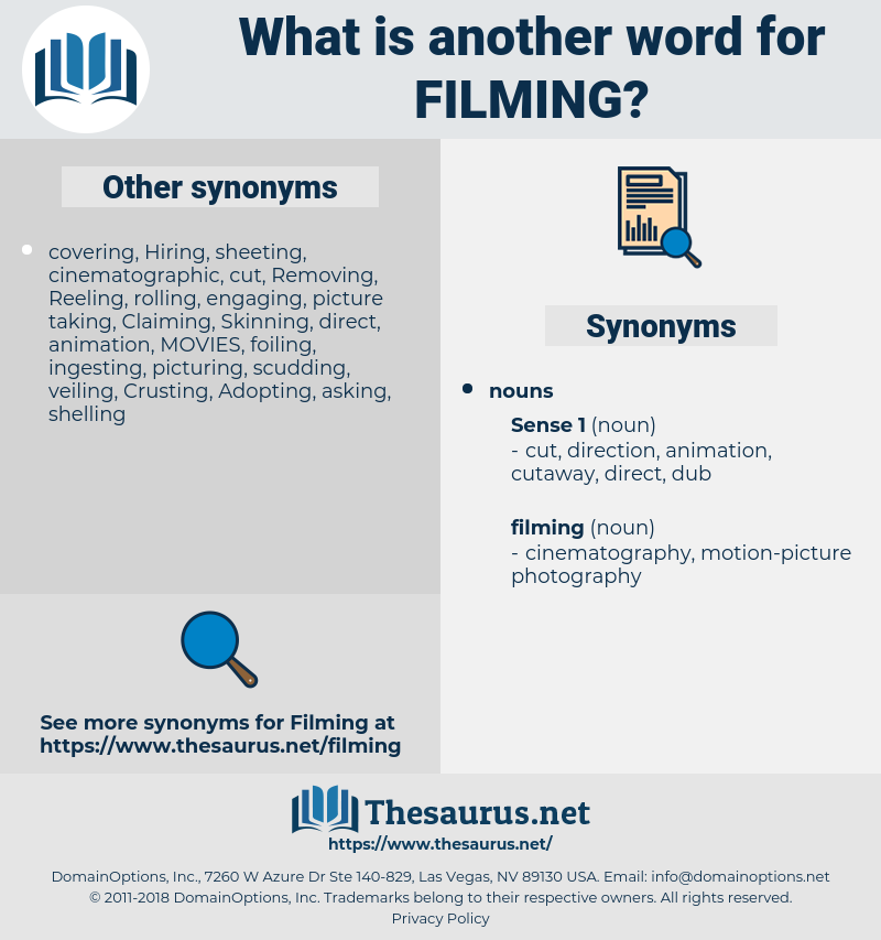 filming, synonym filming, another word for filming, words like filming, thesaurus filming