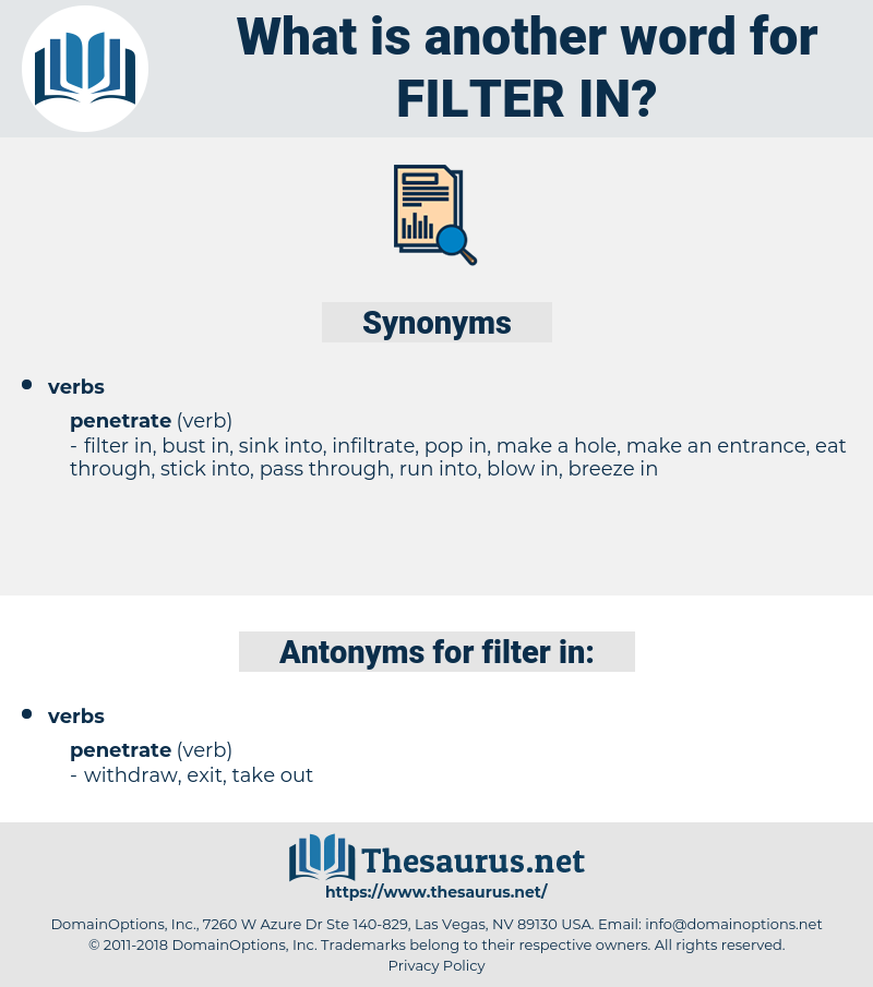 filter in, synonym filter in, another word for filter in, words like filter in, thesaurus filter in