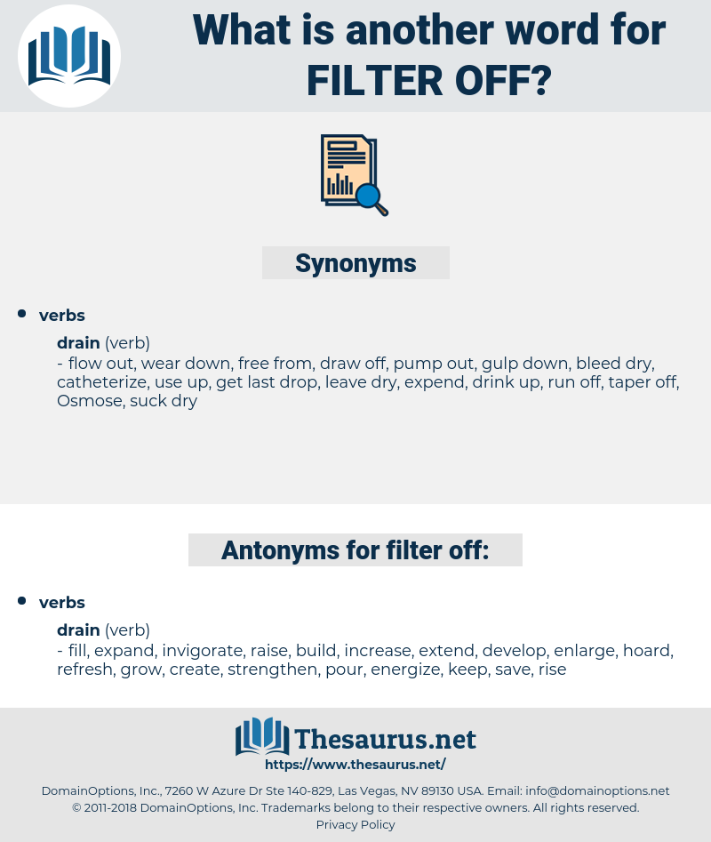 filter off, synonym filter off, another word for filter off, words like filter off, thesaurus filter off