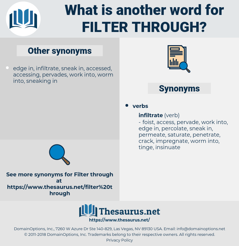 filter through, synonym filter through, another word for filter through, words like filter through, thesaurus filter through