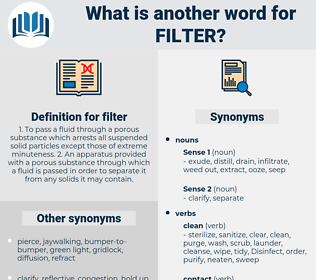 filter, synonym filter, another word for filter, words like filter, thesaurus filter