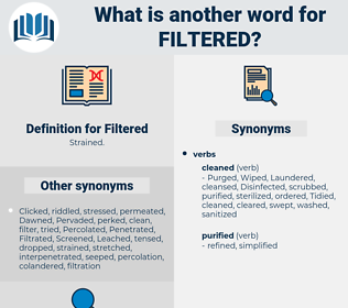 Filtered, synonym Filtered, another word for Filtered, words like Filtered, thesaurus Filtered
