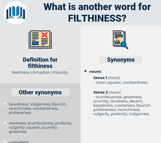 filthiness, synonym filthiness, another word for filthiness, words like filthiness, thesaurus filthiness