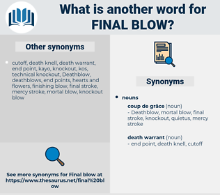 final blow, synonym final blow, another word for final blow, words like final blow, thesaurus final blow