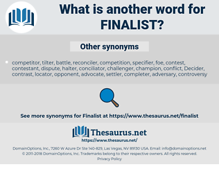 finalist, synonym finalist, another word for finalist, words like finalist, thesaurus finalist