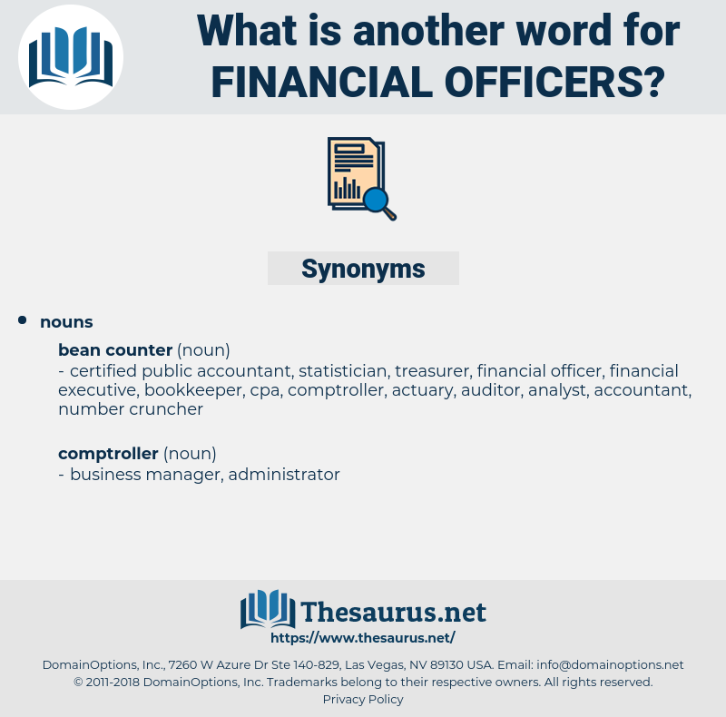 financial officers, synonym financial officers, another word for financial officers, words like financial officers, thesaurus financial officers