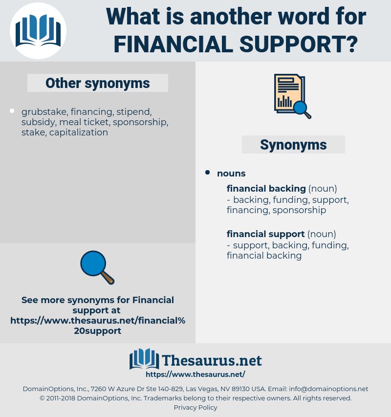 financial support, synonym financial support, another word for financial support, words like financial support, thesaurus financial support