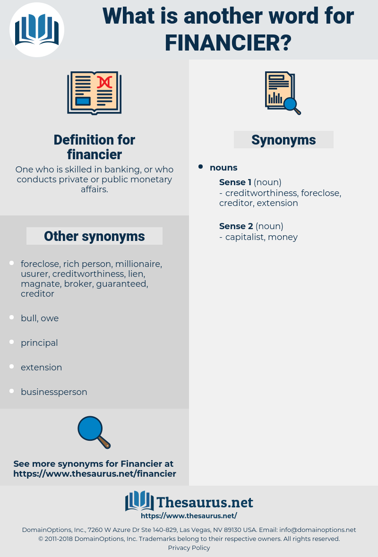 financier, synonym financier, another word for financier, words like financier, thesaurus financier
