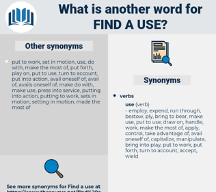 find a use, synonym find a use, another word for find a use, words like find a use, thesaurus find a use