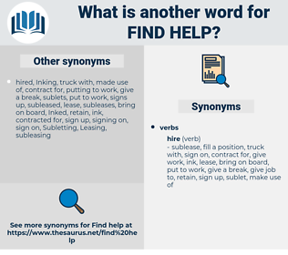 find help, synonym find help, another word for find help, words like find help, thesaurus find help