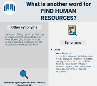 find human resources, synonym find human resources, another word for find human resources, words like find human resources, thesaurus find human resources