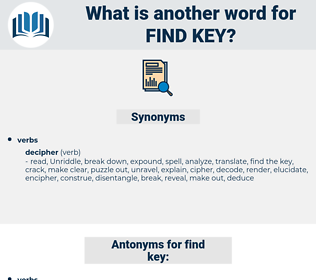 find key, synonym find key, another word for find key, words like find key, thesaurus find key