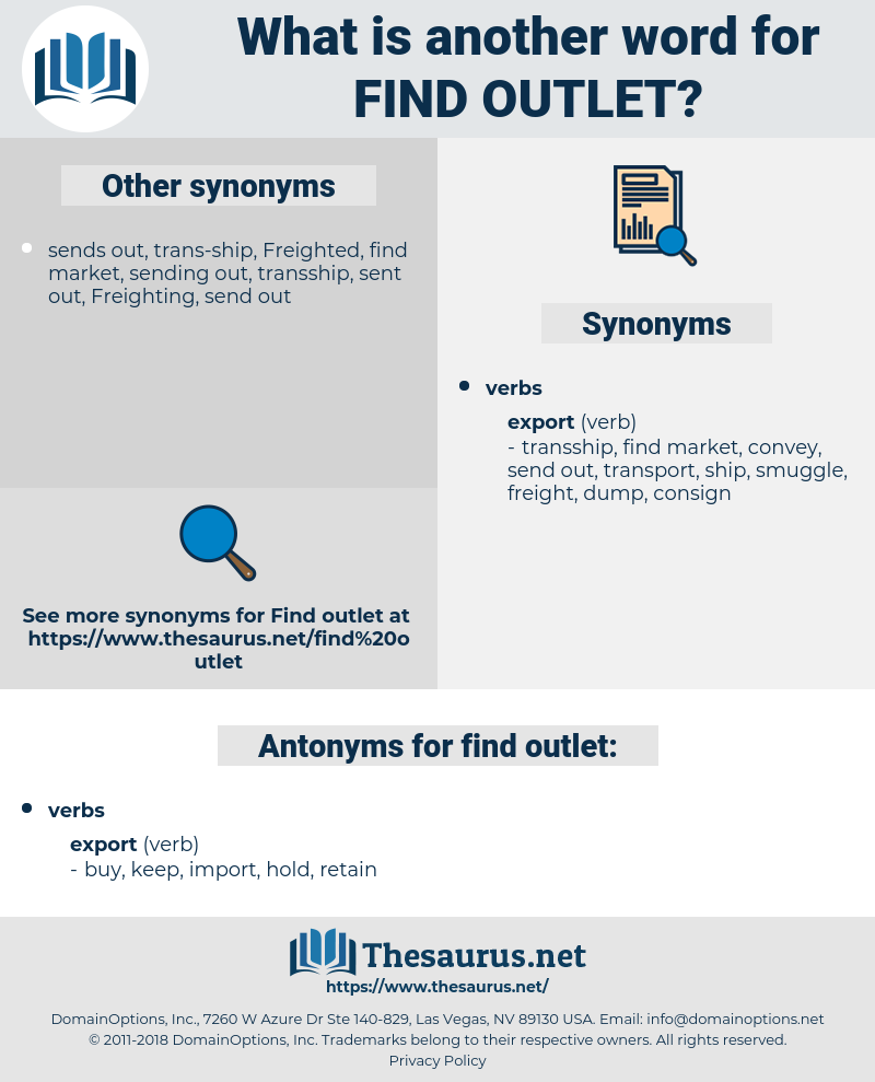 find outlet, synonym find outlet, another word for find outlet, words like find outlet, thesaurus find outlet
