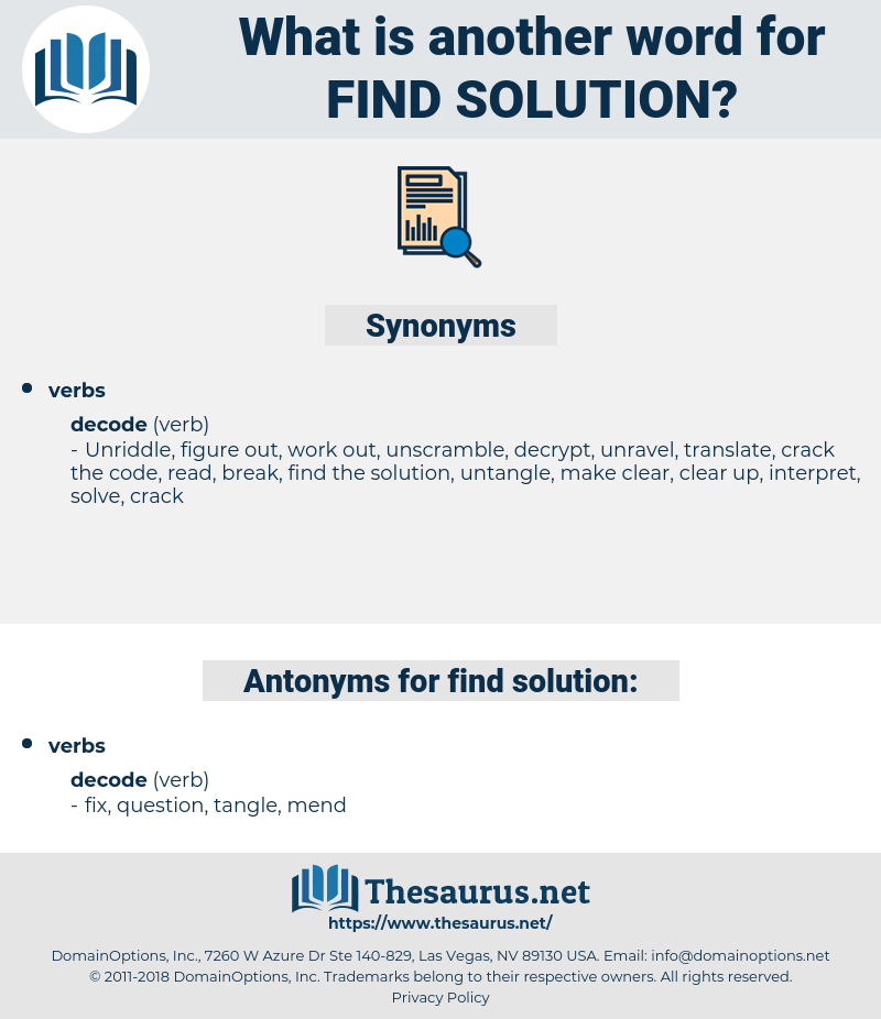 find solution, synonym find solution, another word for find solution, words like find solution, thesaurus find solution