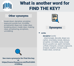 find the key, synonym find the key, another word for find the key, words like find the key, thesaurus find the key
