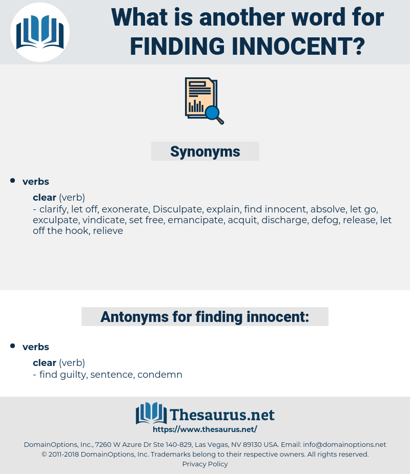 finding innocent, synonym finding innocent, another word for finding innocent, words like finding innocent, thesaurus finding innocent
