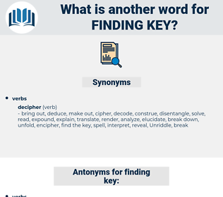 finding key, synonym finding key, another word for finding key, words like finding key, thesaurus finding key