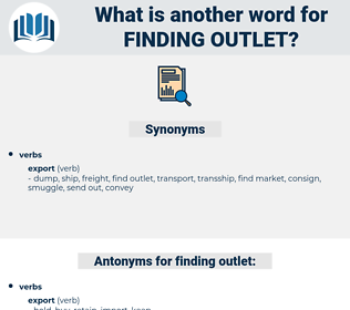 finding outlet, synonym finding outlet, another word for finding outlet, words like finding outlet, thesaurus finding outlet
