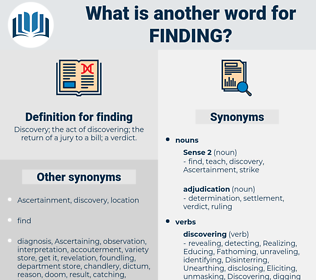 finding, synonym finding, another word for finding, words like finding, thesaurus finding