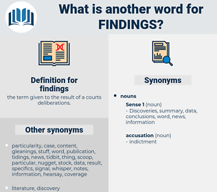 findings, synonym findings, another word for findings, words like findings, thesaurus findings